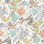 Abstract Foliage Mix Seamless Vector Pattern Design