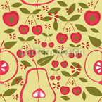 Fruit Garden Beige Seamless Vector Pattern Design