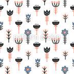Stilisierte Skandinavische Blumen Nahtloses Vektormuster