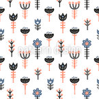 Stylized Scandinavian Flowers Seamless Vector Pattern Design