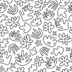Tropical Flower Outlines Seamless Vector Pattern Design