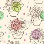 Flores em Potes Design de padrão vetorial sem costura
