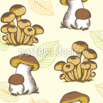 Forest Mushrooms And Leaves Seamless Vector Pattern Design