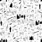 Amor Musical Design de padrão vetorial sem costura