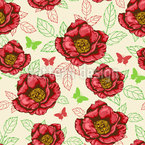 Peonies And Leaves Seamless Vector Pattern Design