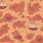 Treasure Map Seamless Vector Pattern Design