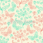 Fantasy Flowers And Butterflies Seamless Vector Pattern Design
