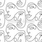 One Line Face Seamless Vector Pattern Design