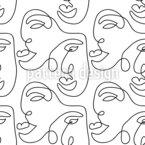 One-Line Gesicht Nahtloses Vektormuster