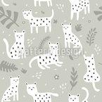 Süße Kleine Leoparden Nahtloses Vektormuster