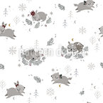 Weihnachten Mit Tieren Nahtloses Vektormuster