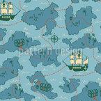 Mapa do Tesouro De Um Pirata Design de padrão vetorial sem costura