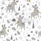 Reindeers In Winter Seamless Vector Pattern Design