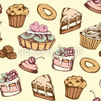Vintage Pastries Seamless Vector Pattern Design