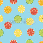 Sliced Citrus Fruits Seamless Vector Pattern Design