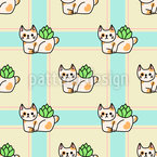 Cat Pot Seamless Vector Pattern Design