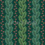 Weihnachtliche Eschenblatt-Reihen Nahtloses Vektormuster