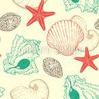 Vintage Meeresmuscheln Nahtloses Vektormuster
