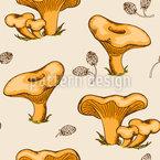 Pfifferling Pilze Nahtloses Vektormuster