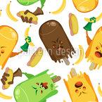 Angry Ice Cream Seamless Vector Pattern Design