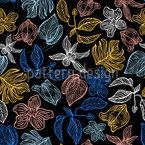 Night Garden Flora Seamless Vector Pattern Design