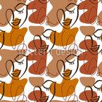Formen Und One Line Gesichter Nahtloses Vektormuster