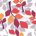 Stylized Autumn Twigs Seamless Vector Pattern Design