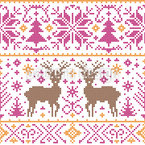 Cross Stitching Winter Seamless Vector Pattern Design