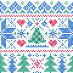 Nordic Winter Embroidery Seamless Vector Pattern Design