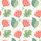 Flat Flowers And Leaves Seamless Vector Pattern Design