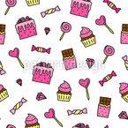 Süßigkeiten Und Desserts Nahtloses Vektormuster