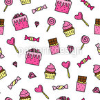 Sweets And Desserts Seamless Vector Pattern Design