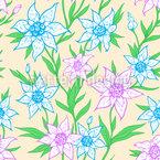 Frühlingsblumen Und Blätter Nahtloses Vektormuster