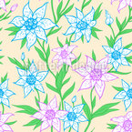 Spring Flowers And Leaves Seamless Vector Pattern Design