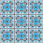 Gekachelte Mosaik-Blumen Nahtloses Vektormuster
