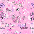 Girl Words Seamless Vector Pattern Design
