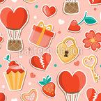 Romantische Gegenstände Nahtloses Vektormuster