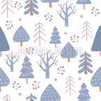 Skandinavische Winterbäume Nahtloses Vektormuster