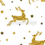 Festive Deer Seamless Vector Pattern Design