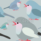 Colorful Robins Seamless Vector Pattern Design