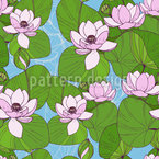 Blühende Seerose Nahtloses Vektormuster
