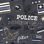 Amerikanische Polizei Nahtloses Vektormuster