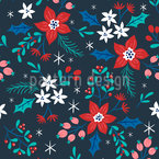 Winter Flowers For Christmas Seamless Vector Pattern Design
