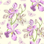 Orchids And Butterflies Seamless Vector Pattern Design