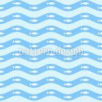 Fische In Wellen Nahtloses Vektormuster
