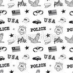 Polizei Gekritzel Nahtloses Vektormuster