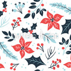 Poinsettias And Leaves Seamless Vector Pattern Design