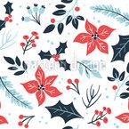 Weihnachtssterne Und Blätter Nahtloses Vektormuster