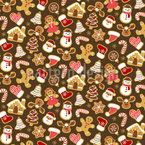 Weihnachts-Lebkuchen-Variation Nahtloses Vektormuster
