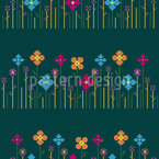 Blumenwiese Bordüre Nahtloses Vektormuster